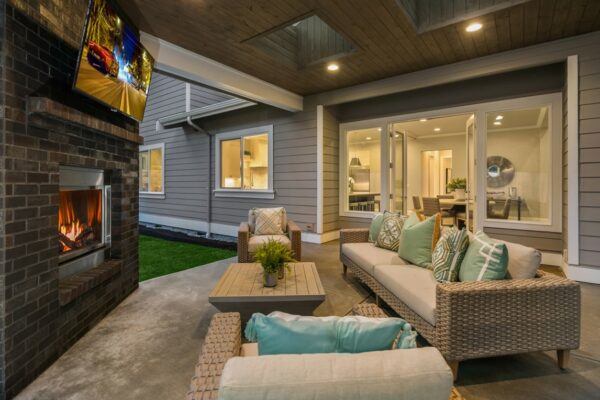 Relaxing back patio designed by MN Custom Homes